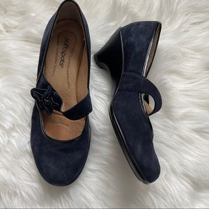 SOFTSPOTS Navy Suede Mary Jane Clogs